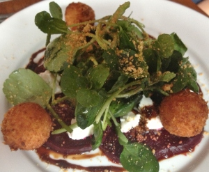 Beetroot and goat's curd